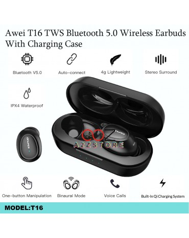 AWEI T16 Mini TWS In Ear Wireless Bluetooth Earbuds Waterproof With Dual Mic Sport Noise Cancelling Gaming Earphone Auriculares