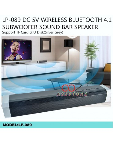 LP-089 DC 5V WIRELESS BLUETOOTH 4.1 SUBWOOFER SOUND BAR SPEAKER(SILVER GREY)