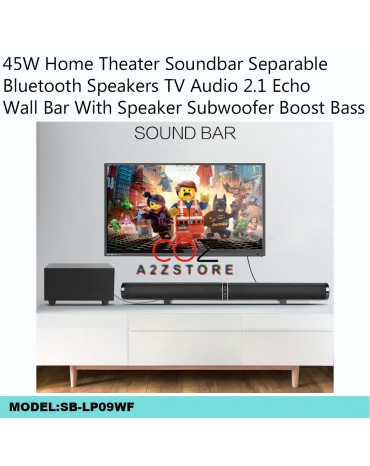 45W Home Theater Soundbar Separable Bluetooth Speakers TV Audio 2.1 Echo Wall Bar With Speaker Subwoofer Boost Bass