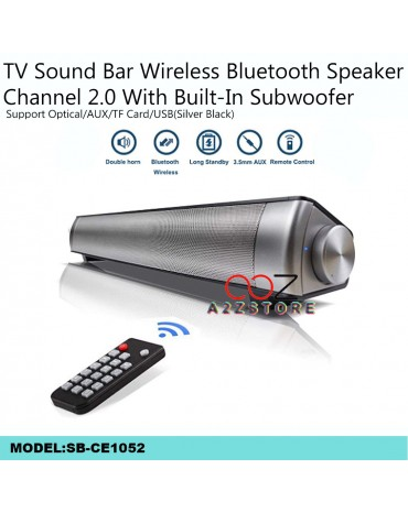 TV Sound Bar Wireless Bluetooth Speaker Channel 2.0 With Built-In Subwoofer(Silver Black)