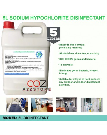 Alcohol-Free Anti-Bacterial Sanitizer & Disinfectant/ Hard Surface Disinfectant 5 Liter